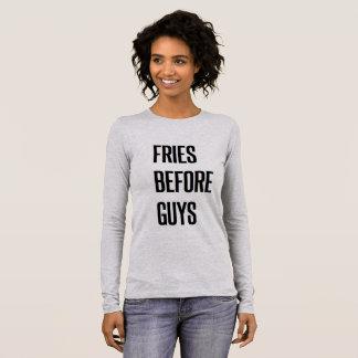 Camiseta Manga Longa Fritadas engraçadas do Natal antes das caras