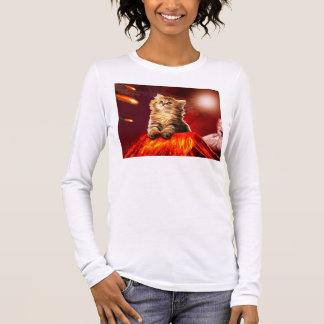 Camiseta Manga Longa gato do vulcão, gato vulcan,