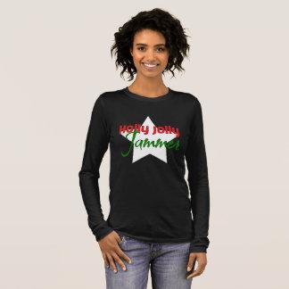 Camiseta Manga Longa Jammer alegre do azevinho, Natal de patinagem de