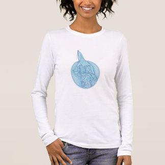 Camiseta Manga Longa Joana do arco que guardara o desenho oval da