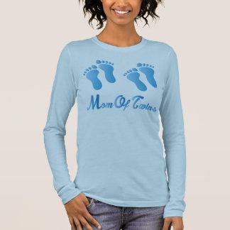 Camiseta Manga Longa Mamã das mulheres azuis das pegadas dos gêmeos da
