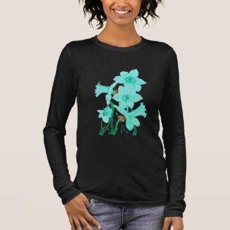 Camiseta Manga Longa Março: T dos Daffodils de água-marinha