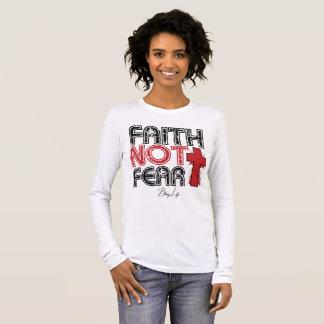 Camiseta Manga Longa Medo Bella da fé não+Camisa longa da luva das