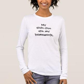 Camiseta Manga Longa Meu Shih-Poo comeu meu t-shirt dos trabalhos de