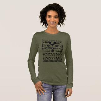 Camiseta Manga Longa Mulher feia do guerreiro da camisola do Natal -