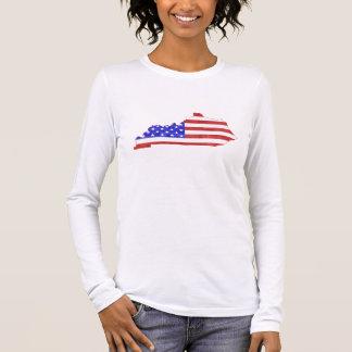 Camiseta Manga Longa Mulheres do mapa do estado da silhueta de Kentucky