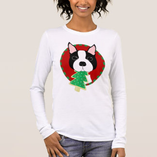 Camiseta Manga Longa Natal de Boston Terrier