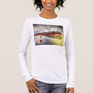 Camiseta Manga Longa O papai noel expresso do Pólo Norte - trem do
