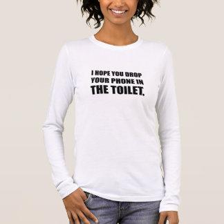 Camiseta Manga Longa O telefone cai no toalete