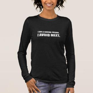 Camiseta Manga Longa O Vegan social evita a reunião
