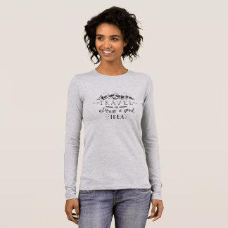 Camiseta Manga Longa O viagem é sempre um bom t-shirt da aventura da