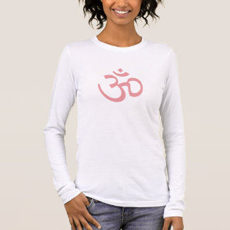 Camiseta Manga Longa OHM, ioga de OM Namaste, rosa da pétala