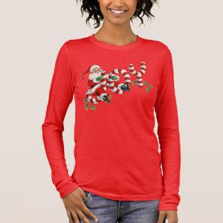 Camiseta Manga Longa Papai noel retro que envia o roupa do feriado do