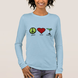 Camiseta Manga Longa Paz, amor & Martini - T longo da luva