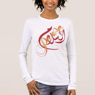 Camiseta Manga Longa PAZ da vénia do Al em árabe e em inglês