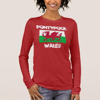 Camiseta Manga Longa Pontypool, Wales com bandeira de Galês