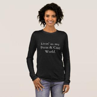 Camiseta Manga Longa Pressione & ondule o t-shirt Longo-Sleeved mundo