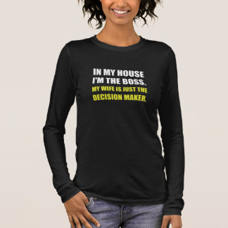 Camiseta Manga Longa Responsável pelas decisões da esposa do chefe