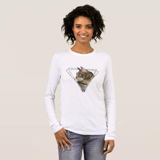 Camiseta Manga Longa Retrato do gato de gato malhado com quadro do