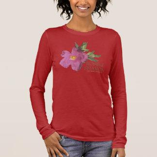 Camiseta Manga Longa Rosa do t-shirt escuro da luva longa de Sharon (2
