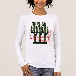 Camiseta Manga Longa Senhoras LS T de Feliz Navidad da árvore do cacto