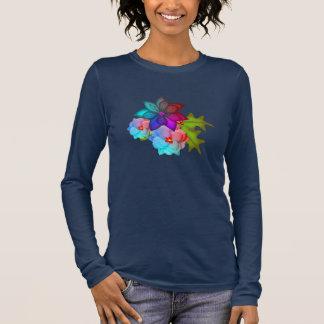 Camiseta Manga Longa Succulent colorido do Natal floral