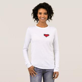 Camiseta Manga Longa T longo branco simples da luva com coração