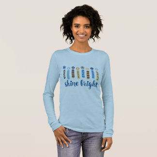 Camiseta Manga Longa T longo brilhante da luva de Hanukkah do brilho