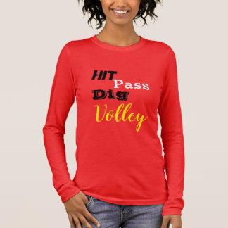 Camiseta Manga Longa T longo da luva da salva vermelha
