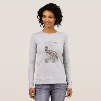 Camiseta Manga Longa T longo da luva das mulheres, cinza da urze da cor