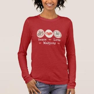 Camiseta Manga Longa T longo da luva de Mahjong do amor da paz