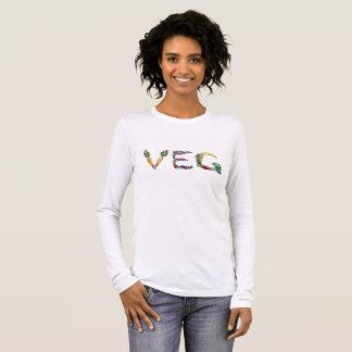 Camiseta Manga Longa T longo da luva do vegetariano ou do Vegan