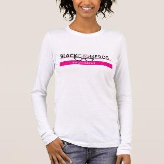 Camiseta Manga Longa T longo da luva dos nerd pretos da menina