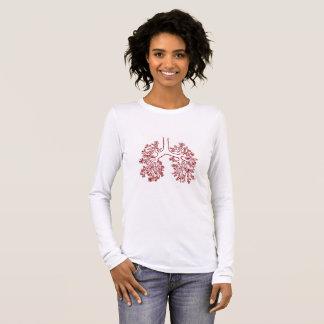 Camiseta Manga Longa T-shirt anatômico floral da ilustração dos pulmões