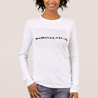 Camiseta Manga Longa T-shirt com impressão do esboço do pássaro em