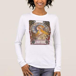 Camiseta Manga Longa T-shirt de Nouveau da arte de Mucha - zodíaco -