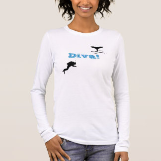 Camiseta Manga Longa T-shirt do mergulhador de mergulhador das mulheres