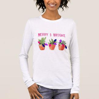 Camiseta Manga Longa T-shirt dos Succulents e das luzes de Natal