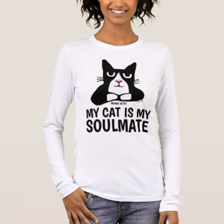 Camiseta Manga Longa T-shirt engraçados do gato do gatinho da panda,