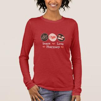 Camiseta Manga Longa T-shirt longo da luva da farmácia do amor da paz