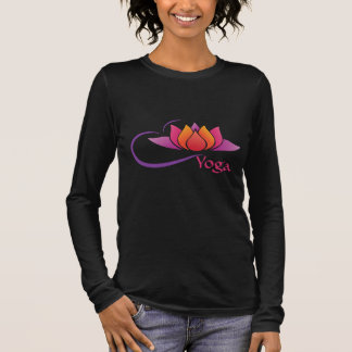 Camiseta Manga Longa T-shirt longo da luva da ioga da flor de Lotus