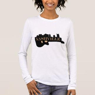 Camiseta Manga Longa T-shirt longo da luva da skyline da guitarra de