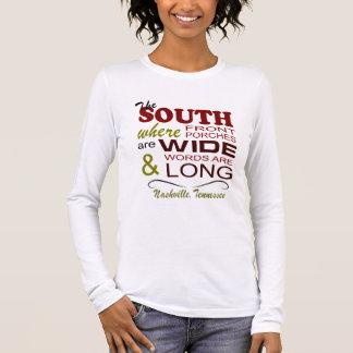 Camiseta Manga Longa T-shirt longo da luva das palavras longas largas