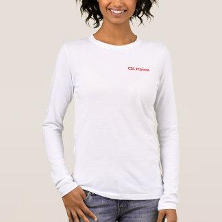 Camiseta Manga Longa T-shirt Longsleeved branco do plasma de CSL para