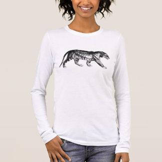 Camiseta Manga Longa T-shirt preto & branco do tigre