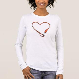 Camiseta Manga Longa T Sleeved longo do logotipo do coração do Leashed