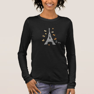 Camiseta Manga Longa Torre Eiffel de Paris com parte superior das