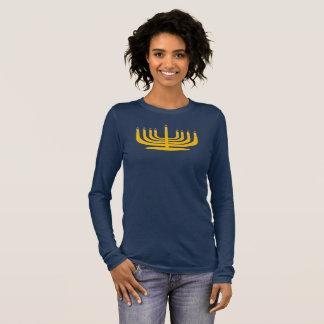 Camiseta Manga Longa TShirt do marinho de Hanuhkkah do castiçal da vela