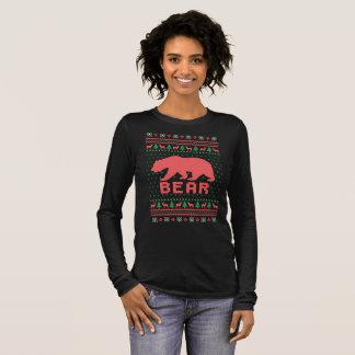 Camiseta Manga Longa Urso feio do Natal da camisola