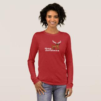 Camiseta Manga Longa Vermelho engraçado do Xmas da rena do Natal da